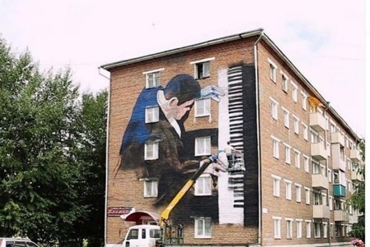Граффити с Мацуевым в Свирске
