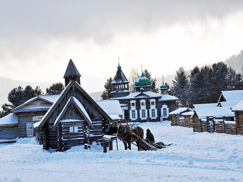 Музей Тальцы зимой